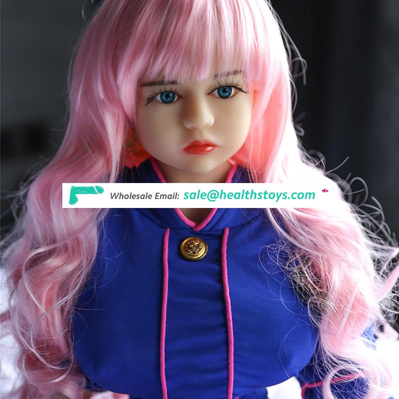 105cm 3.4FT mini little busty petite young blonde girl masturbation TPE silicone sex love erotic doll toy factory