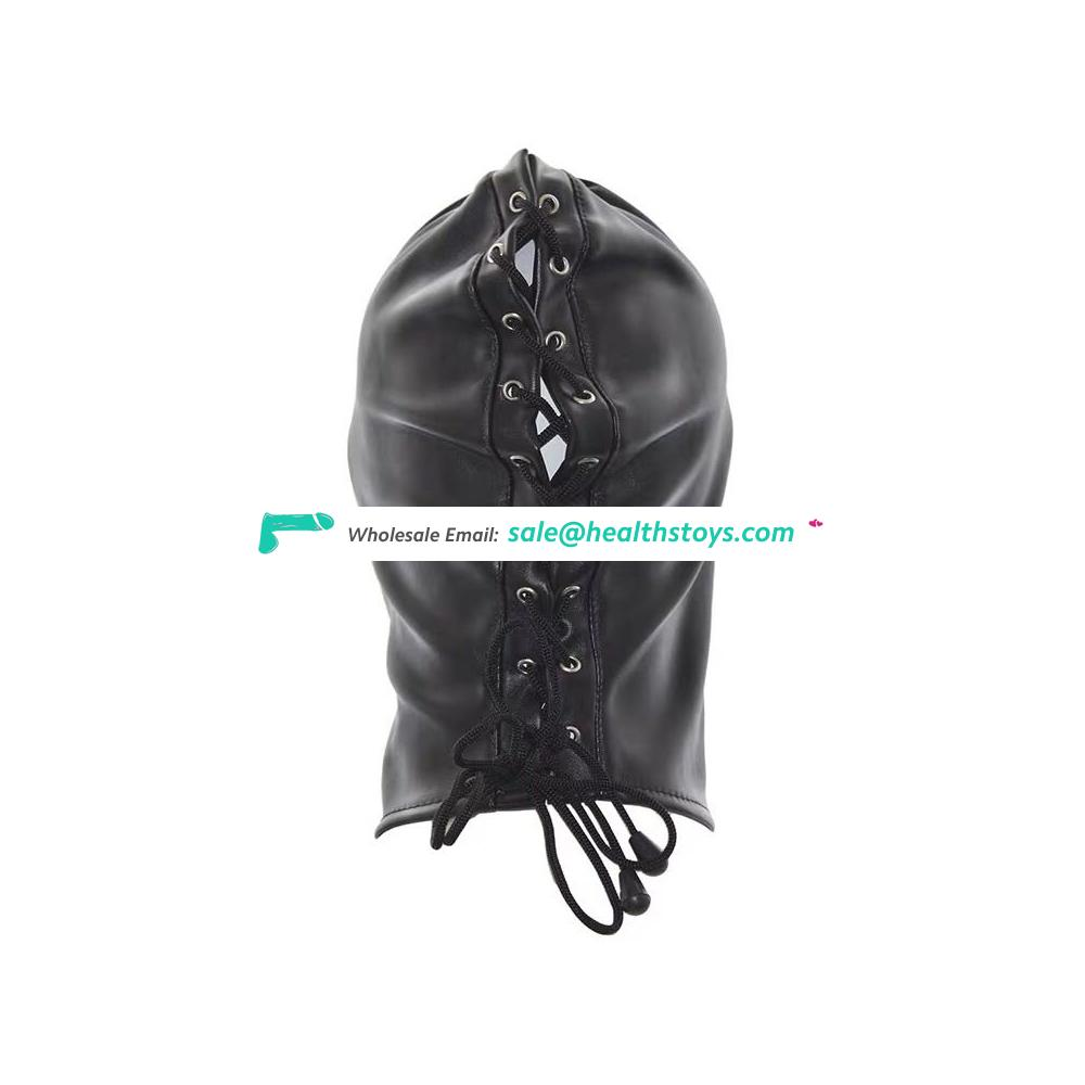 Amazon hot sale PU Leather enslave dominate size  adjustable lacing Sexy face mask