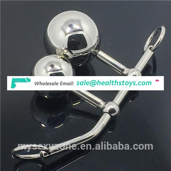 Female chastity device stainless steel massage ball urethral beads insertion polished steel dildo sex cock beads