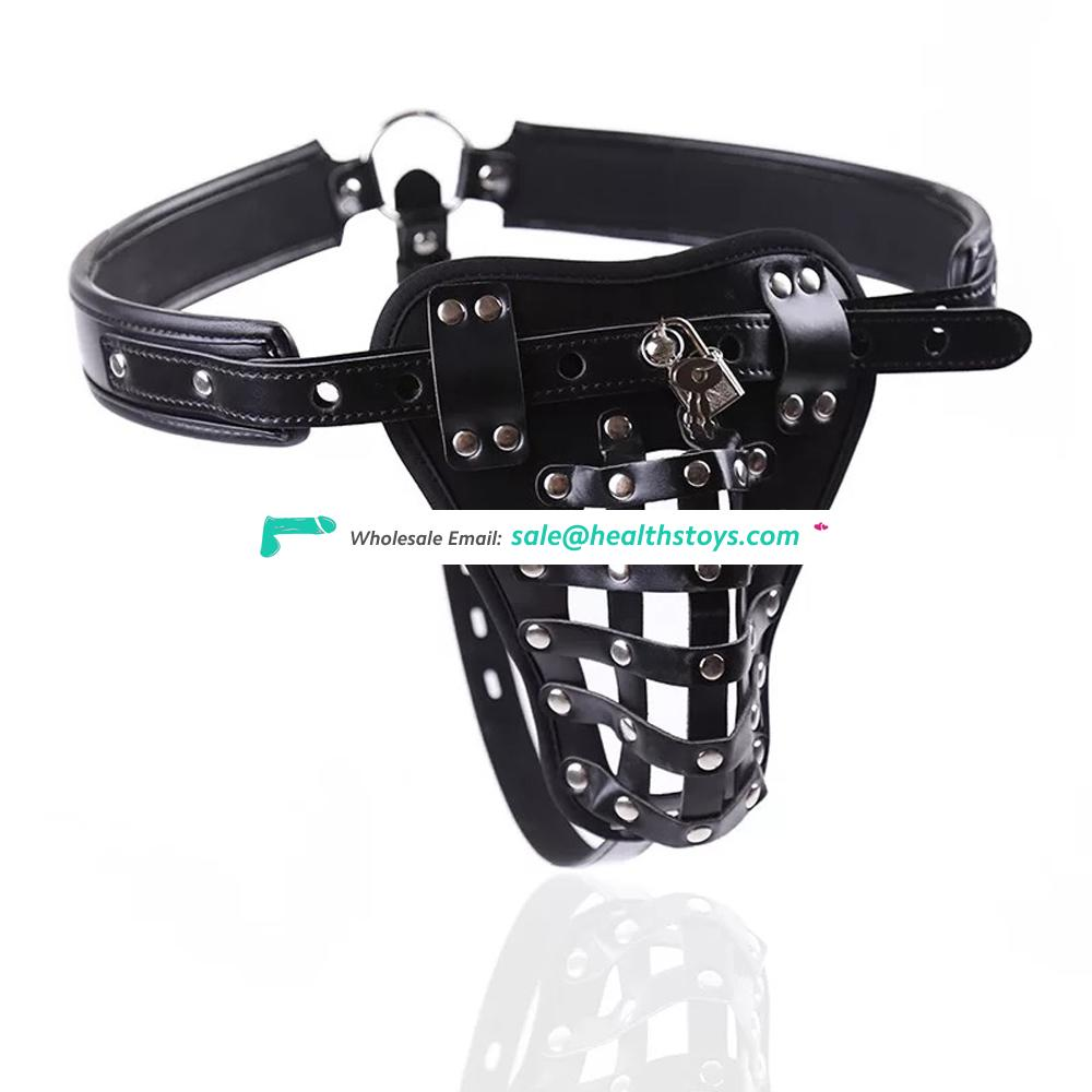 Leather Sexy Pants Fixed Penis Ring Cock Cage Leather Chastity Belt For Men