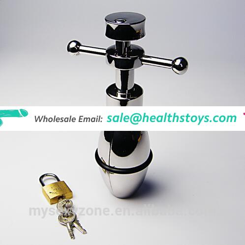 Metal steel lockable chastity anal butt plug for male and famale