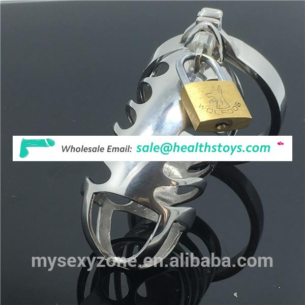 Stainless Steel Male Chastity Devices Long Size Lockable Cock Cage