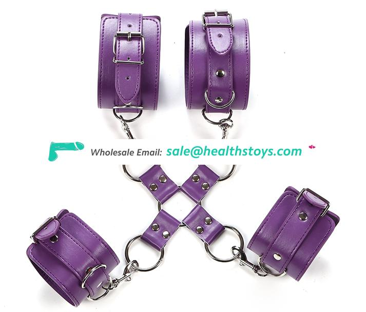Fetish Bondage Sex Handcuffs Soft Handcuffs Leather Stainless Steel Handcuffs