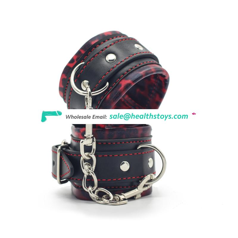 Hight Quality BDSM Adult Game Leather Handcuffs Metal for Couples Handcuffs Restraints Bondage Flirting Tool for Beginners
