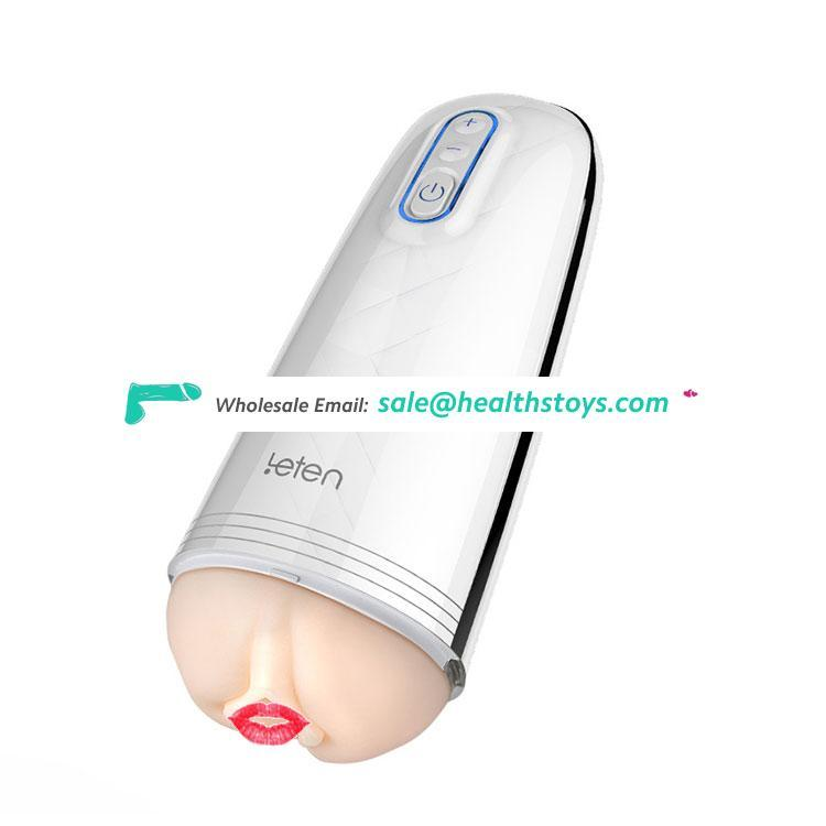 New Leten Clear Image Direct Sales Electric Bluetooth Voice Video Chat TPE Vagina Pocket Male Hand-Job Aircraft Masturbation Cup