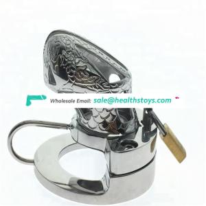 2018 latest design chastity device ball stretcher heavy penis cage with nuts divider