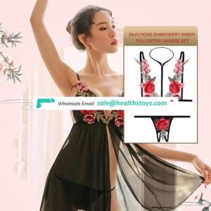 2019 hot sale embroid rose brassiere briefs suit