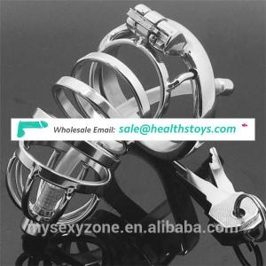 304 Stainless Steel Male Bondage Cock Chastity Cage with Penis Plug with Urethral Catheter