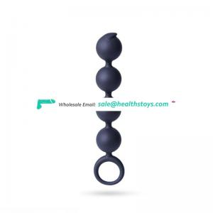 4silicone ball design silicone anal beads with handle ring anal plug