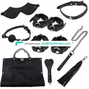 8sets luxury PU BDSM bondage adult games fetish restraint sex toys with sexy handcuff mouth gag collars