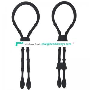 Adjustable length sex delay silicone cock rings testicle rings string