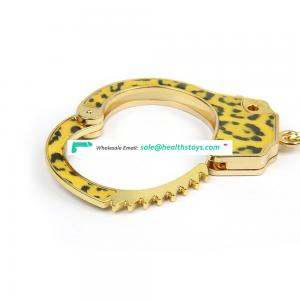 Amazon hot sale Bondage Couples Handcuffs leopard print  with Golden Chain Adults BDSM Toys