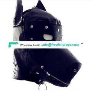 Animal design face sex leather mask fetish hood