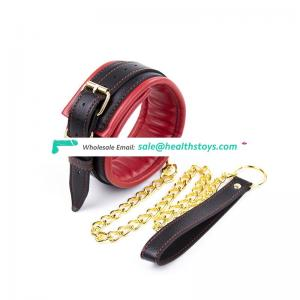 BDSM Adult Game adjustable  leather  collar with leash  Metal  red and black soft  For Couples Bondage  unisex toy dog collar