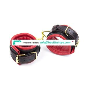 BDSM Adult Game adjustable  leather  handcuffs  Metal  red and black soft  For Couples Bondage  unisex toy handcuff