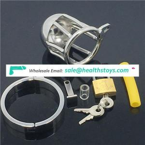 BDSM Male Chastity Belt Device Stainless Steel Virginity Lock Small Short Cock Cage