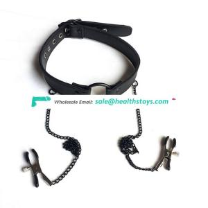 BDSM slave leather restraint fetish bondage harness O ring gag with nipple clips  for sm game tools