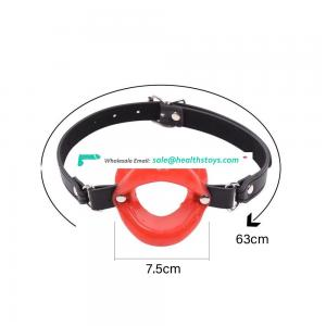 Bdsm Mouth Ball Gag Harness Bondage Restraints Open Mouth Gag Adult Sexy Toy Leather Mouth Plug Soft Lips