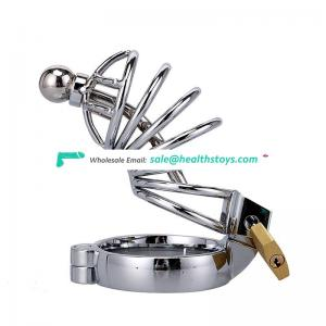 Bdsm penis chastity cock cage stainless steel ring with locks