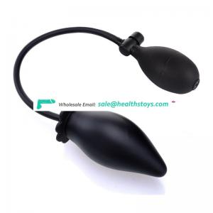Black inflatable butt plug sex toy for adult