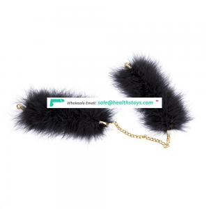 Bondage Couples Restraint Handcuffs Feather with Golden Chain Adults BDSM Toys