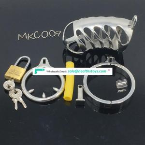 Cock Lock Stainless Steel Lockable Penis Cage Penis Cock Ring Sleeve Male Chastity Device BDSM Chastity penis plug C009