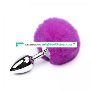 Different color silicone/ Metal Rabbit Tail aluminum butt plug for Women Adult