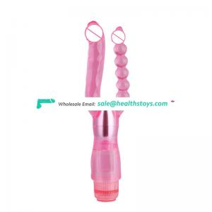 Double headed with long beads anal vagina vibrator penetration