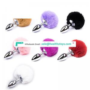 Factory price Small/big Size Metal animal Tail Stainless Steel rabbit anal plug for Women Adult