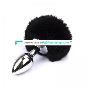 Factory price Small/big Size tail animal hair steel lockable butt plug for Women Adult