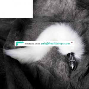 Factory price silicone/metal fox tail anal plug for men/women adult