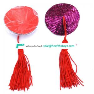 Fashional Women Red Heart Shape Breast Pasties Sexy Nipple Cover with Tassels