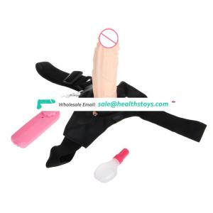 Flesh color electric dildo strap on dildo for men