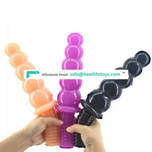 Flexible 5balls in a row PVC anal beads with thread handle anal plug butt beads toys