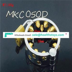 Gold Spike Stainless steel 2 Rows Ring Scrotum Pendant Male Chastity Device Metal Penis Ring