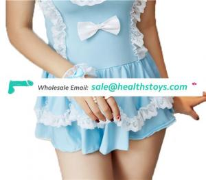 Halloween cute blue  Lolita Costumes for Women Sexy servant Cosplay Lingerie Party Uniform woman Lingerie sexy