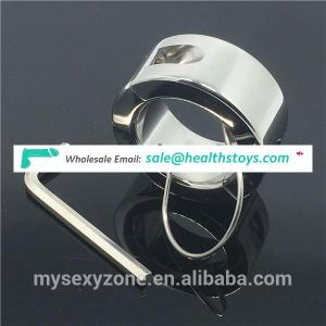 Heavy Stainless Steel Ball Scrotum Stretcher Ring Metal Locking Ring