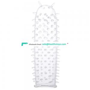 High Quality Crystal Condom Penis Sleeve Extended Penis Sleeve Extender For Male