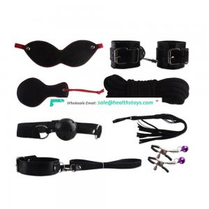 Hot 8 Pcs/set PU Leather BDSM Sex Bondage Set Hand Cuffs Whip Rope Sex Toys for Couples
