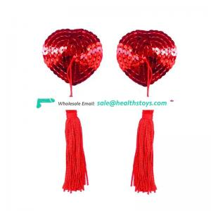 Hot Sexy Breathable Different Color Reusable Sequin Nipple pasties With Tassel