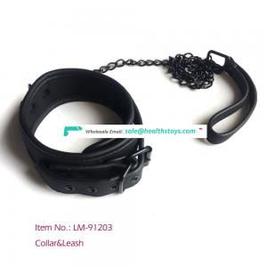 Hot sale  Rings Choker Necklace Adjustable Black Real Leather Neck Collar With Chain Leash