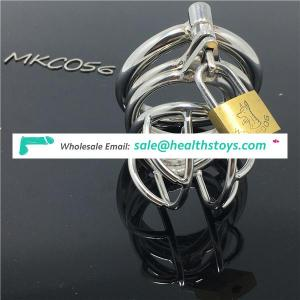 Hot selling Medical Stainless Steel Small Male Chastity device Cock Cage With Curve Cock Ring Urethral Catheter BDSM C056
