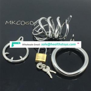 Hot selling Medical Stainless Steel Small Male Chastity device Cock Cage With Curve Cock Ring Urethral Catheter BDSM C060