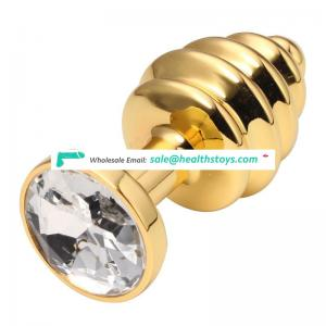 Jewelry steel sex anal plug sex toys with gold and silver color