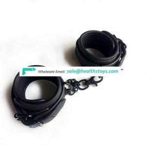 Leather BDSM handcuffs adjustable soft wrist ankle cuffs for couples and lovers