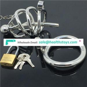 Male Chastity Devices Penis Chastity Cage with Urethral Sound Catheter and Lock