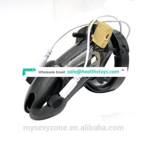 Male Electric Shocking Chastity Device Lock Plastic Penis Cage Vibrator Sex Toys