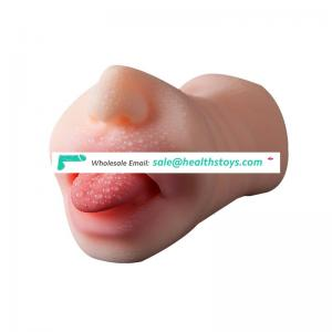 Male Masturbator Cup artificial vagina silicone pussy and oral sex toys with Teeth and Tongue