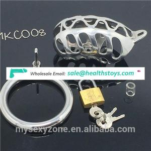 Metal Male Chastity Device Cage Cock Ring with Lid Cover Sex Toy for Man