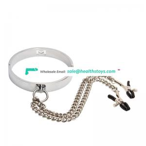 Metal sex neck collar fetish slave body chain toys bondage collar for female